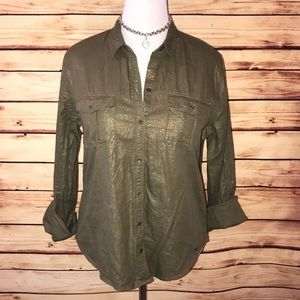 Hollister Olive Shimmer Button Down Blouse